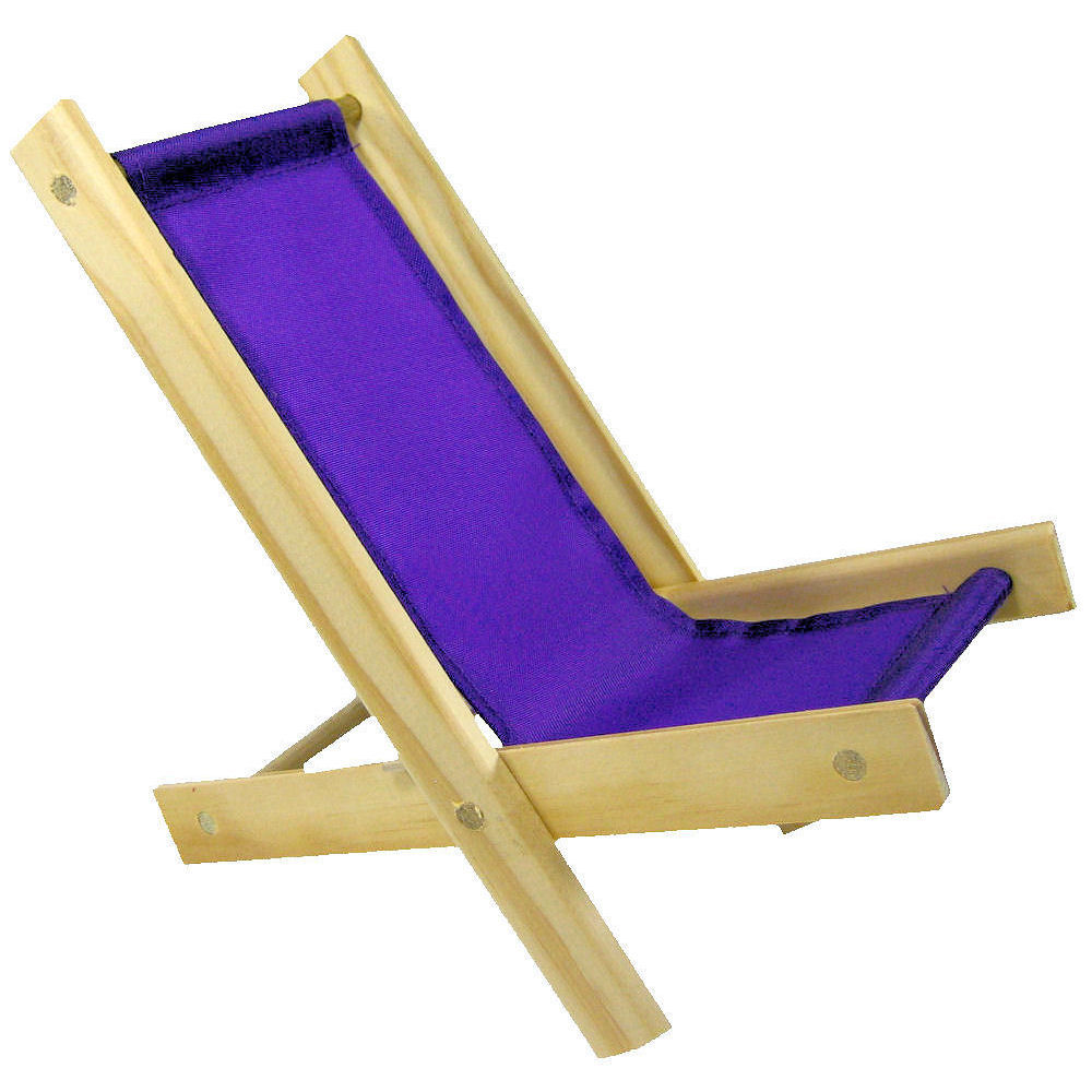 Toy Wood Lounge Folding Chair, Purple Fabric