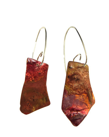 Earth,shapes,earrings,#4, handmade, hand-forged, recycled, recycled silver, one-off, contemporary jewellery, contemporary jewelry, red, pink, transformation, become, unique, Lieta, Marziali, patina, texture, Ecosilver, copper