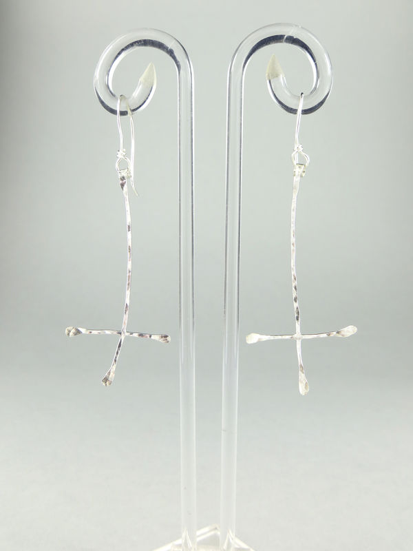 Hand-forged dragonfly earrings #6 - product image