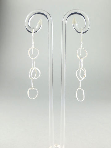 Hand-forged,chain,earrings,#2,Lieta, Marziali, contemporary, jewellery, ecosilver, recycled, chain, hammered, forged, textured, silver