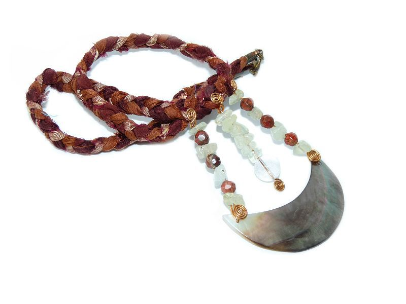 Crescent Moon necklace, Shell, Prehnite, Red Jasper, Bronze and Quartz  - product image