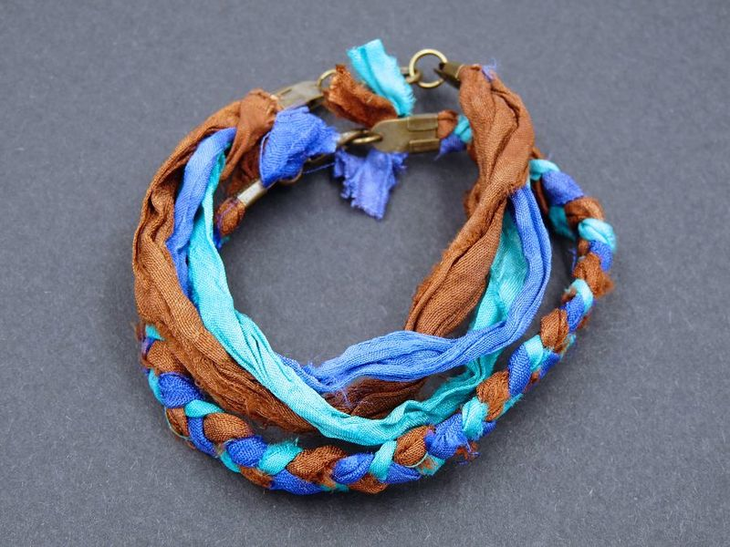 Silk bracelet set, brown, blue, turquoise - product image