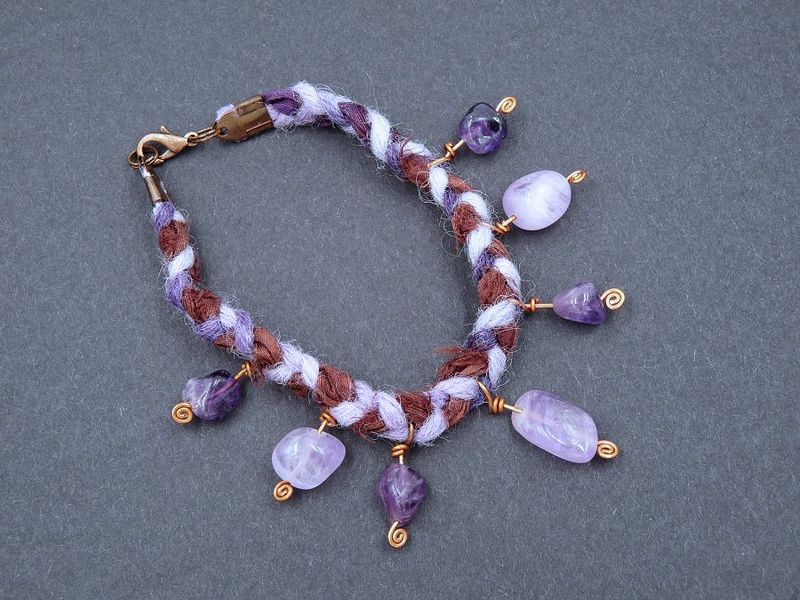 Amethyst, Silk Ribbon and Wool Bracelet - product image