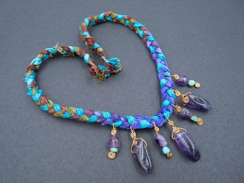 Turquoise,,Amethyst,and,Silk,Necklace,necklace, amethyst necklace,turquoise necklace,silk necklace,turquoise,amethyst,purple,green,copper,spiral