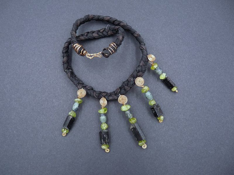Peridot, Black Tourmaline, Kambaba Jasper and Bronze necklace - product image