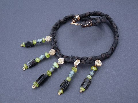 Peridot,,Black,Tourmaline,,Kambaba,Jasper,and,Bronze,necklace,black tourmaline necklace,peridot necklace,kambaba jasper necklace,silk necklace,black tourmaline jewellery