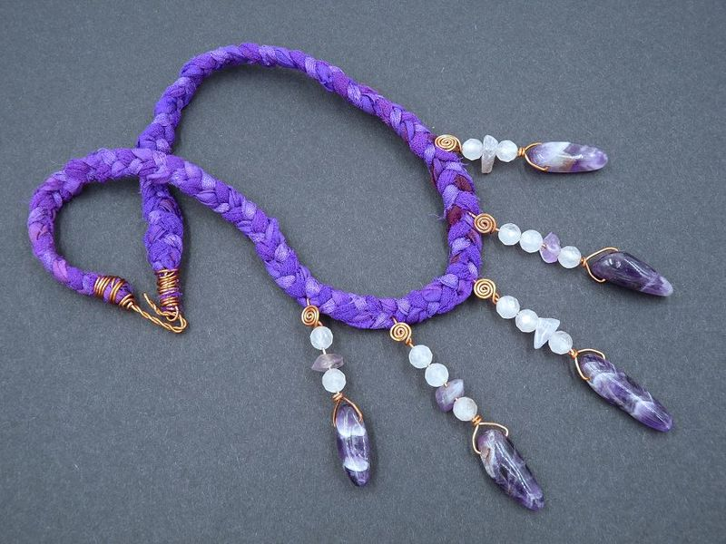 Amethyst, Rose Quartz and Copper necklace - product image