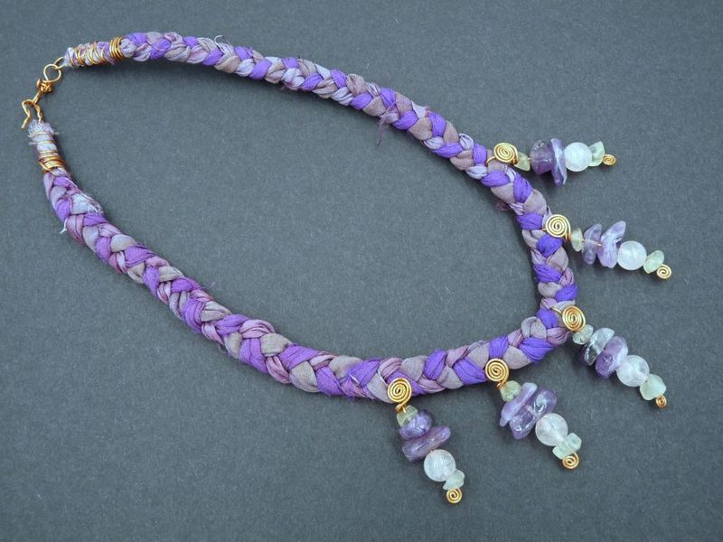 Rose Quartz, Prehnite, Amethyst and Bronze necklace - product image