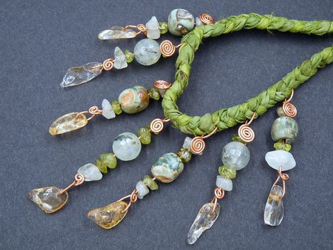 Citrine,,Peridot,,Prehnite,and,Rhyolite,Jasper,necklace,peridot necklace,citrine necklace,silk necklace,peridot jewellery,prehnite necklace