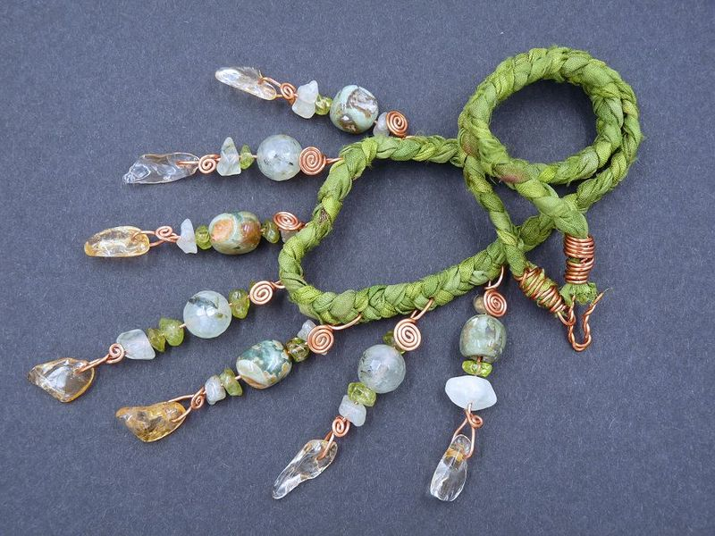 Citrine, Peridot, Prehnite and Rhyolite Jasper necklace - product image