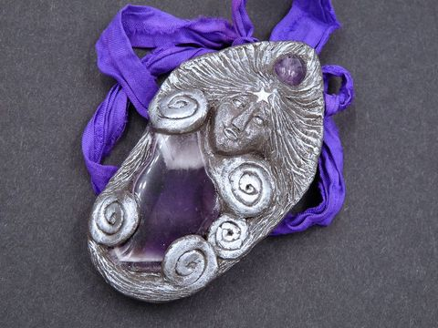 Amethyst,Goddess,Necklace,amethyst goddess necklace,amethyst lady necklace,goddess sculpture,amethyst spiral goddess