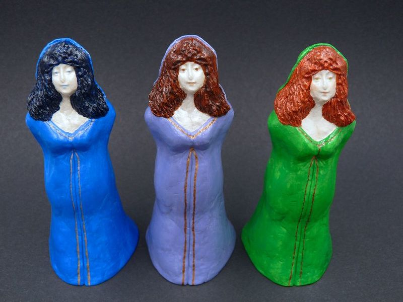 Cloaked Goddess Statue, purple, blue, green - product image