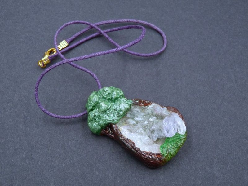 Woodland Secret, an Amethyst Druze sculpture necklace - product image