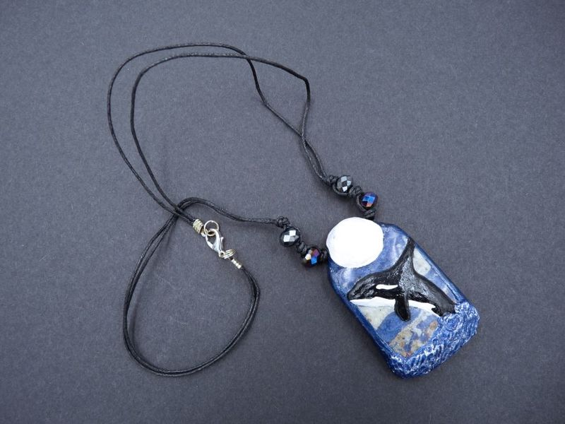 Moonlight Orca sculpture necklace with Sodalite - product image