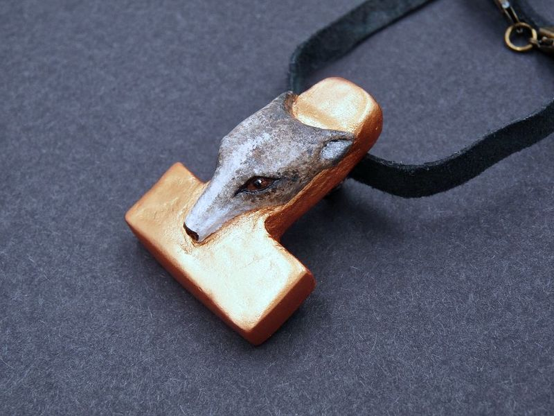 Thor's Hammer with Wolf Face - product image