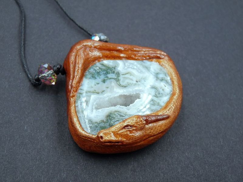 Druzy Moss Agate Dragon necklace - product image