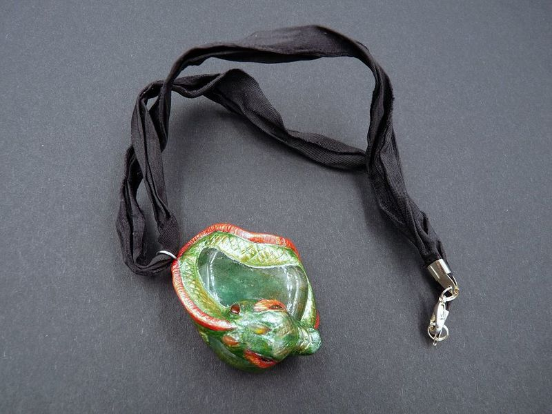 Dragon sculpture with Green Aventurine and Carnelian *reserved* - product image