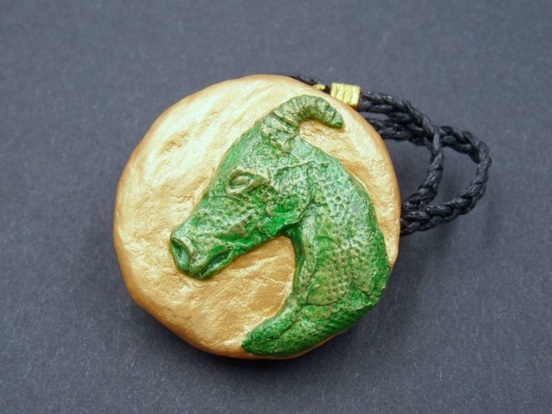 Dragon Head Amulets, green, black, purple, blue - product image