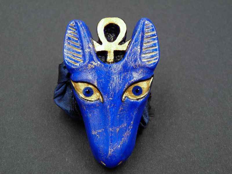 Anubis Amulet on Silk ribbon necklace - product image
