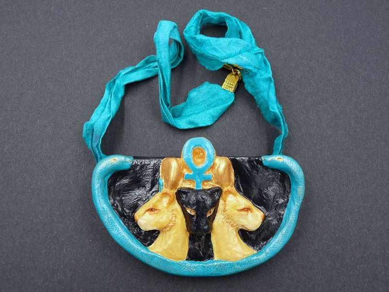 Triple Goddess necklace, Ancient Egypt - Sekhmet, Bast and Tefnut - product image