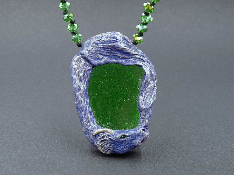 Purple Dragon with green Sea Glass necklace - product image