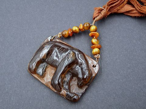 Tiger,Eye,carved,Bear,necklace,tiger eye bear,bear necklace,bear jewellery,bear pendant,bear jewelry,carved bear necklace