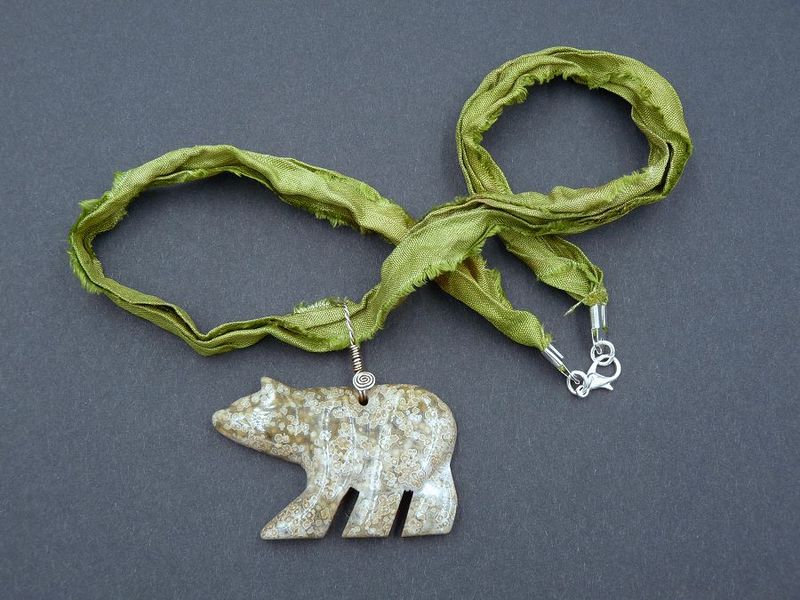 Ocean Jasper Bear necklace - product image