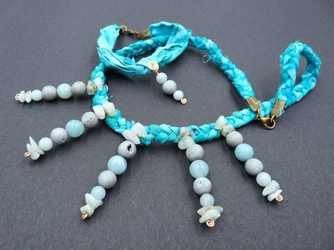 Gemstone,and,Silk,necklace,bracelet,set,silk jewellery,silk jewelry,silk ribbon jewellery set,aquamarine jewellery,amazonite jewellery