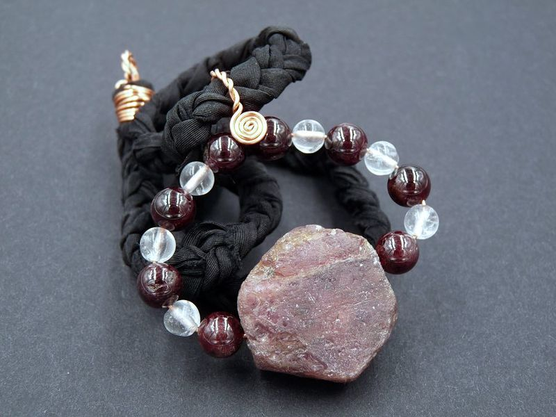 Natural Ruby and Garnet necklace - product image