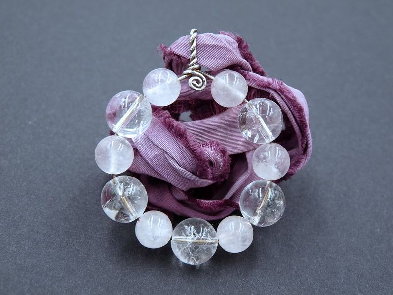 Rose Quartz and Quartz Moon pendant - product image