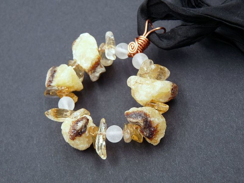 Septarian, Citrine, Quartz necklace - product image