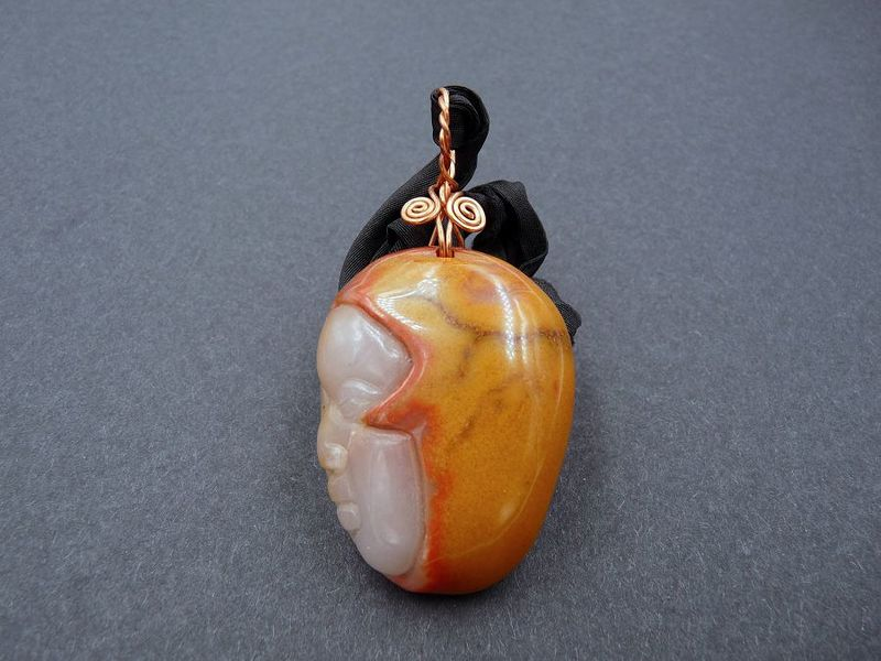 Agate carved face necklace - product image