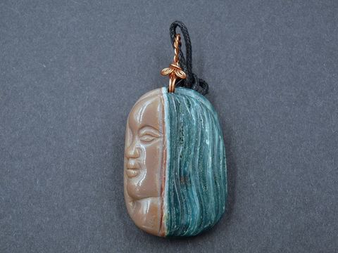 Agate,Spirit,Guide,agate face,carved agate face,agate pendant,agate amulet,spirit guide amuet,agate necklace