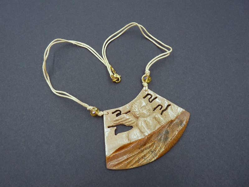 Cupid necklace, Picture Jasper carving - product image