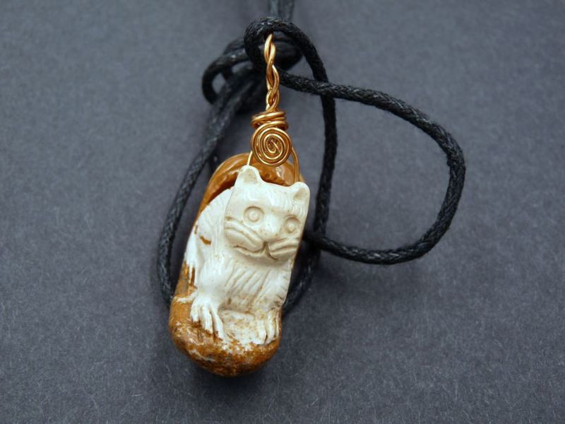 Cat necklace, African Picture Jasper - product image