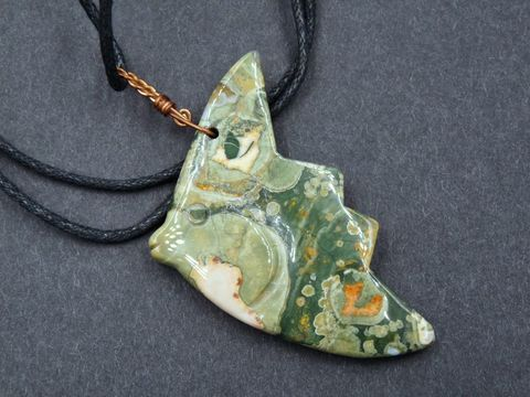 Rainforest,Jasper,Fish,Amulet,carved fish,jasper fish,rainforest jasper,rhyolite jasper,fish pendant,fish necklace,jasper pendant,fish amulet