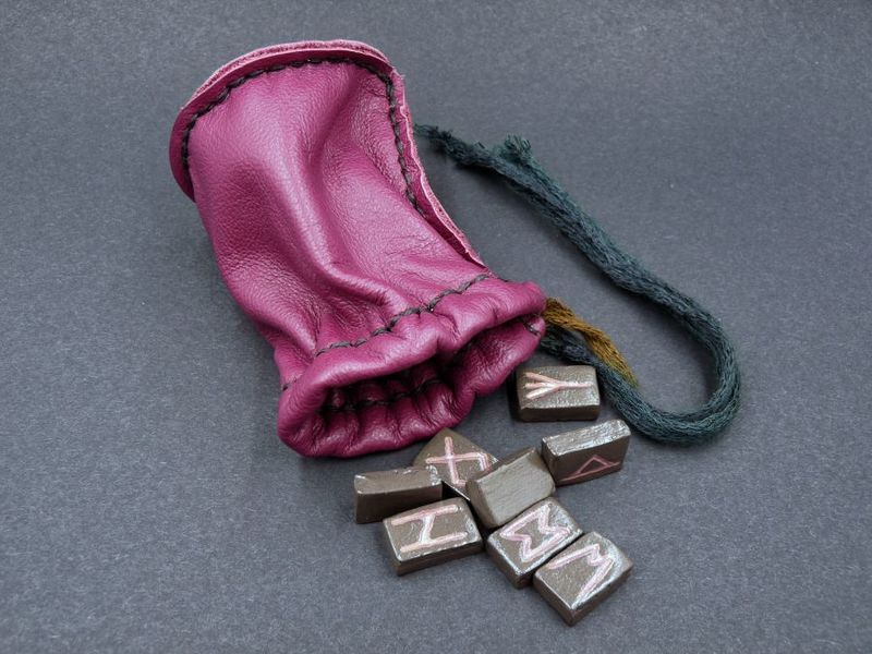 Elder Futhark Runes with purple leather pouch - product image
