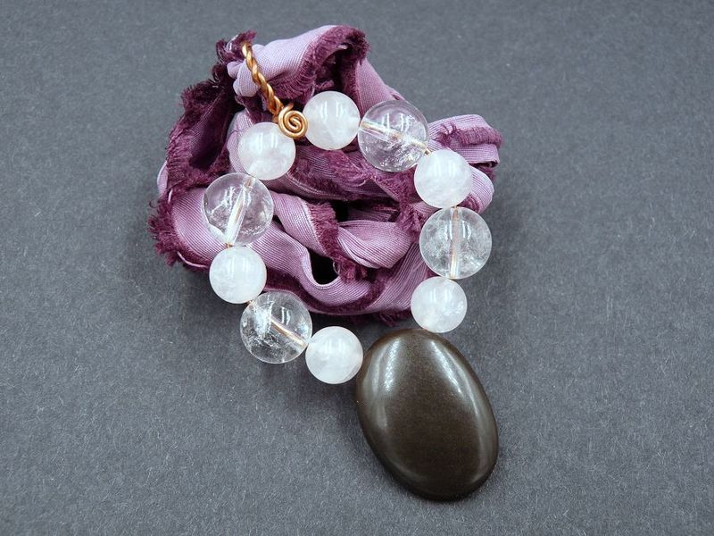 Obsidian, Rose Quartz and Quartz necklace - product image