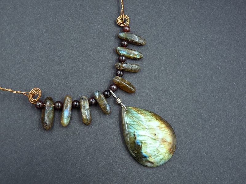 Labradorite and Garnet Choker - product image