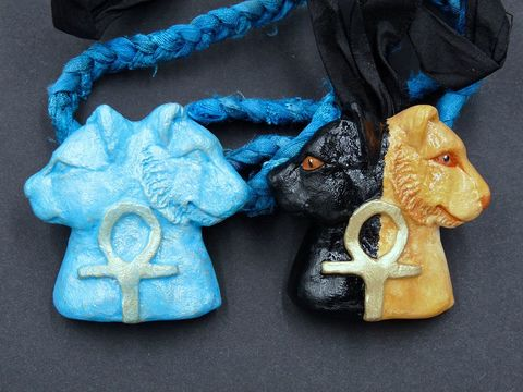 Bast,and,Sekhmet,necklaces,bast amulet,sekhmet amulet,bast jewellery,sekhmet jewellery,cat necklace,sekmet amulet,egyptian amulet