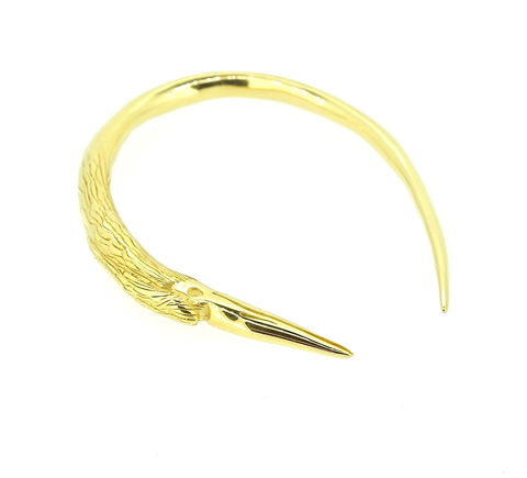 Heron,bangle,beak jewellery, bird jewellery, heron jewellery, handmade jewellery, gold bracelet, unique hand sculpted