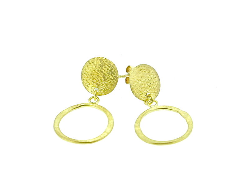 Punchstud loop earrings - 18ct gold - product images  of