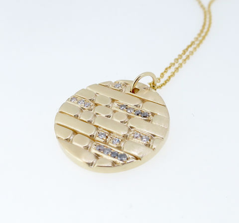 Sculpt,round,pendant,Sculpt gold necklace, sculpt gold pendant, round gold pendant with diamonds, handmade gold pendant, jacqui quinn gold pendant