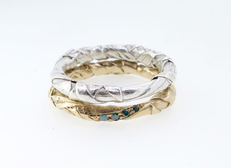 WOVEN textured 9ct ring with diamonds - product images  of