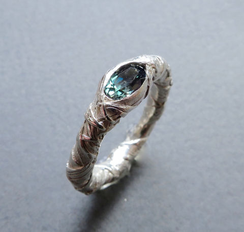 WOVEN,ring,encased,with,tourmaline,Woven ring, woven jewellery, sculptural jewellery,