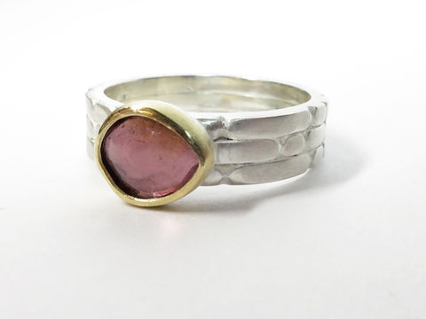 Sculpt,threeband,with,pink,tourmaline,Sculpt ring, pink tourmaline, rose cut tourmaline, fancy tourmaline, sculptural jewellery