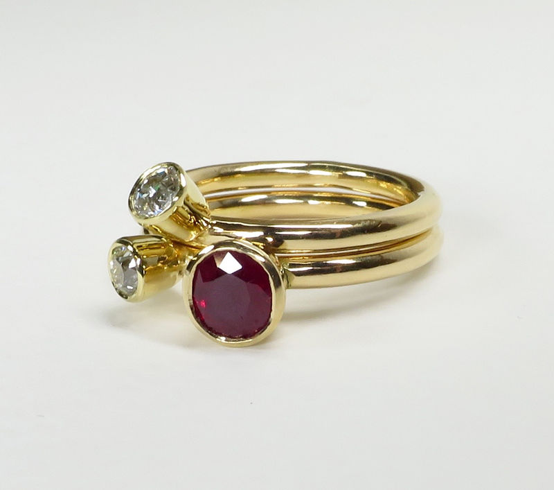 Ruby and diamond triptych - product images  of