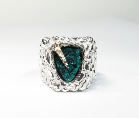 Pul,Na,Sean,Tinne,Pul Na Sean tinne, hole of the old fire, dioptase ring, blow hole, blow hole art, blow hole ring, blow hole jewellery, art ring, cocktail ring, lockdown art, lockdown jewellery