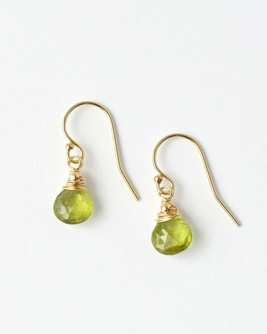 Small,Wire,Wrapped,Peridot,Dangle,Earrings,in,Gold,Fill,small peridot earrings, wire wrapped peridot earrings, peridot dangle earrings, August birthstone earrings