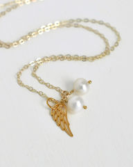 Gold Twins Pregnancy Loss Necklace with Pearls - product images 2 of 5